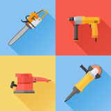 Set of power electric tools flat icons. Chainsaw, hand drill, sander and angle grinder. Vector illustration Royalty Free Stock Photo