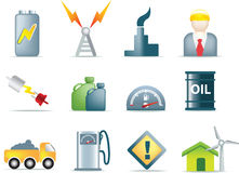 Set of power and energy icons. Energy icons for the electric, fuel, gas and oil industries as illustrations Royalty Free Stock Photo