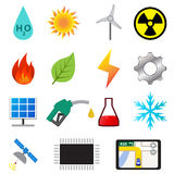 Set of power and energy system in flat color icons Stock Image