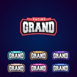 Set of the power full grand racing typography logo emblem design for t- shirt Stock Photo