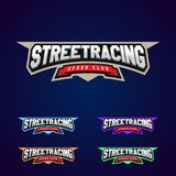 Set of the power full Street Racing sport typography logo emblem design Stock Photography