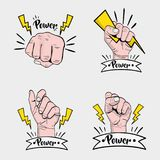 Set power hand strong protest Stock Images