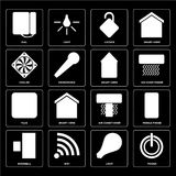 Set of Power, Light, Doorbell, Air conditioner, Plug, Smart home. Set Of 16 icons such as Power, Light, Wifi, Doorbell, Mobile phone, Dial, Cooler, Plug, Smart royalty free illustration
