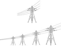 Set of power lines and electric pylons. Vector set of power lines and electric pylons illustration Royalty Free Stock Images