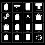 Set of Power, Mobile, Eco home, Remote, Smart Light, Temperature. Set Of 16 icons such as Power, Mobile, Smart home, Eco Switch, Home, Temperature, Light, web UI royalty free illustration