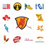 Set of power play hockey, paragliding, firehouse, fright night, corn dog, javelin, fastclick, crepe, canada goose icons. Set Of 13 simple editable icons such as Royalty Free Stock Photo