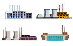 Set of power station. Set of energy station. Gas station, nuclear power station, hydro power. Vector illustration Royalty Free Stock Photos