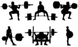 Set powerlifting athletes Stock Image