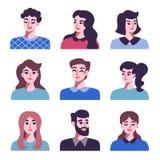 Set pozytywne mężczyzna i kobiet avatar ikony royalty ilustracja