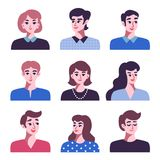 Set pozytywne mężczyzna i kobiet avatar ikony ilustracja wektor