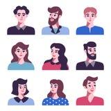 Set pozytywne mężczyzna i kobiet avatar ikony ilustracji