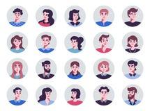 Set pozytywne mężczyzna i kobiet avatar ikony Wektorowa ilustracja płascy projektów charakterów ludzie ilustracji