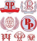 Set of PP monograms and emblem templates Stock Photography