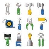 Set pracujących narzędzi ikony Zdjęcia Royalty Free