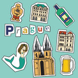 Set of Prague landmarks and icons Royalty Free Stock Image