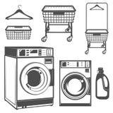 Set pralniany pokój, pralnia, laundromat dla emblematów i projekt, Zdjęcie Stock