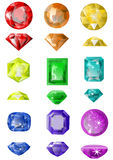 Set of precious stones. Isolated on white vector illustration