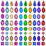 Set of precious stones of different cuts and col Royalty Free Stock Images