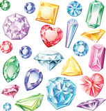 Set of precious stones of different cuts Royalty Free Stock Images