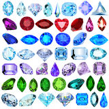 Set of precious stones of different cuts and colors Stock Photography