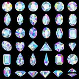 set of precious stones of different cuts and colors royalty free illustration