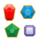Set of precious stones. Emerald and Ruby. Sapphire and Amethyst. Royalty Free Stock Photography