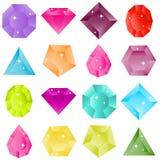 A set of precious stones. Flat design,  illustration Royalty Free Stock Image