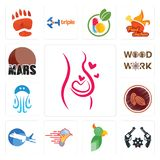 Set of pregnancy, revolver, , catering services, aeroplane, cacao, jellyfish, woodwork, mars icons. Set Of 13 simple  icons such as pregnancy, revolver Stock Image