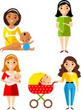 Set of pregnant, mother with newborn in stroller. Royalty Free Stock Photography