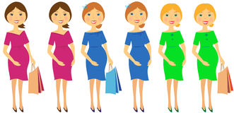 Set of pregnant woman. Set of beautiful pregnant womans in colorful dress Stock Images