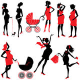 Set of  pregnant woman Silhouettes in black and red colors, isol. Ated on white background. Elements for Life style design. Walking with buggy, shopping Stock Images
