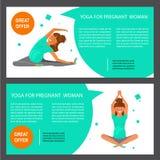 Set with pregnant women. Two horizontal flyers of yoga class. Banner set with pregnant women. Vector illustration eps 10 Stock Photo