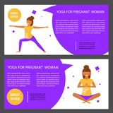 Set with pregnant women. Two horizontal flyers of yoga class. Banner set with pregnant women. Vector illustration eps 10 Royalty Free Stock Photography
