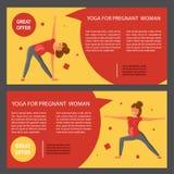 Set with pregnant women. Two horizontal flyers of yoga class. Banner set with pregnant women. Vector illustration eps 10 Royalty Free Stock Photos