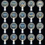 Set premii Luksusowe Błękitne odznaki ilustracji