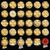 Set premii złota odznaki ilustracja wektor