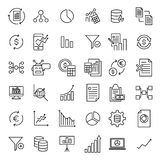 Set of premium analysis icons in line style. High quality outline symbol collection of data. Modern linear pictogram pack of statistics. Stroke vector Royalty Free Stock Photography