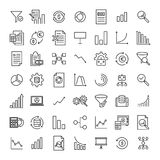 Set of premium analysis icons in line style. High quality outline symbol collection of data. Modern linear pictogram pack of statistics. Stroke vector Royalty Free Stock Photos