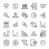 Set of premium analysis icons in line style. High quality outline symbol collection of data. Modern linear pictogram pack of statistics. Stroke vector Stock Photography