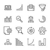Set of premium big data icons in line style. High quality outline symbol collection of analysis. Modern linear pictogram pack of information Stock Image