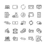 Set of premium finance icons in line style. High quality outline symbol collection of money. Modern linear pictogram pack of investments Royalty Free Stock Photography