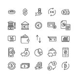 Set of premium finance icons in line style. High quality outline symbol collection of money. Modern linear pictogram pack of investments Royalty Free Stock Images