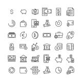 Set of premium finance icons in line style. High quality outline symbol collection of money. Modern linear pictogram pack of investments Royalty Free Stock Photo