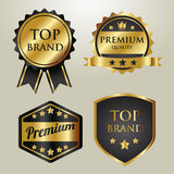 Set of premium gold badges and labels Stock Image