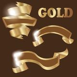 Set of premium golden ribbons for your design. Vector Stock Photography