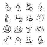 Set of premium human icons in line style. High quality outline symbol collection of user. Modern linear pictogram pack of period. Stroke vector illustration on royalty free illustration