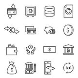 Set of premium investments icons in line style. High quality outline symbol collection of money. Modern linear pictogram pack of finance. Stroke vector Stock Image