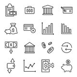 Set of premium investments icons in line style. High quality outline symbol collection of money. Modern linear pictogram pack of finance. Stroke vector Royalty Free Stock Photo