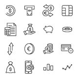 Set of premium investments icons in line style. High quality outline symbol collection of money. Modern linear pictogram pack of finance. Stroke vector Royalty Free Stock Images