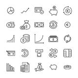 Set of premium investments icons in line style. High quality outline symbol collection of money. Modern linear pictogram pack of finance. Stroke vector Stock Images